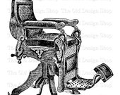 Antique Barber Chair Vintage Commercial Use Clip Art Illustration Digital Stamp Transfer Image PNG JPG