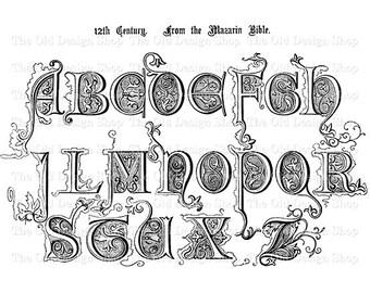 Alphabet Clip Art 12th Century Vintage Typography Printable Illustration Digital Download Transfer Image