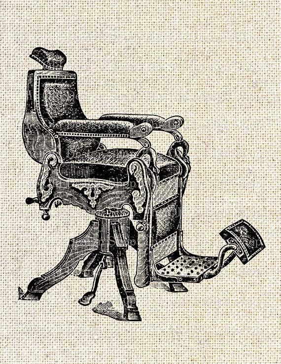 50 - Antique Barber Chair Vintage Clip Art Illustration Digital Etsy