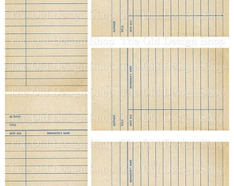 Beige Library Cards Vintage Style Printable Digital Collage Sheet
