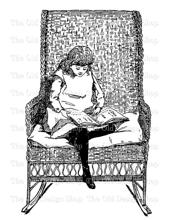 Girl Reading Clip Art Vintage Printable Illustration ...