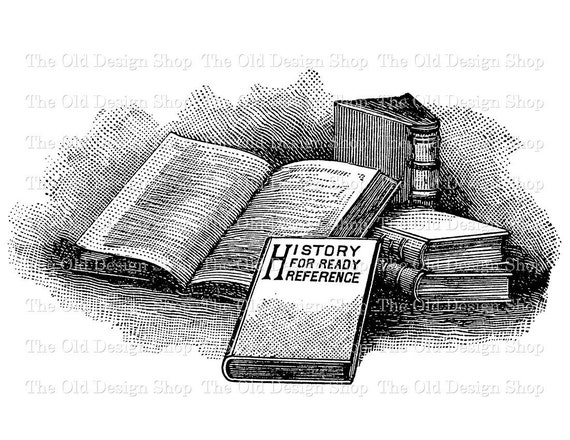 Vintage Book Clip Art Stack Of Books Illustration Digital