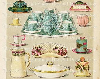 Mrs Beeton's Vintage Breakfast and Tea China Printable Illustrated Cookbook Page Digital Download JPG Image