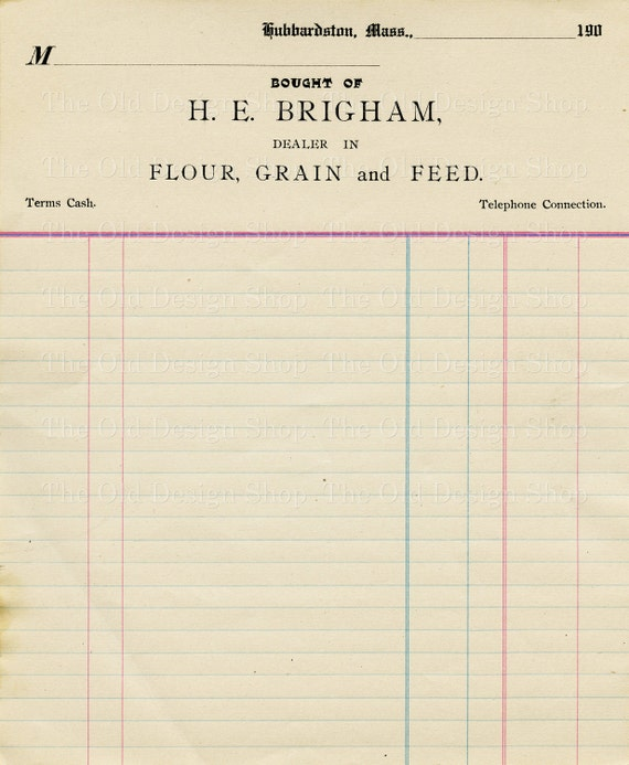vintage accounting ledger page printable ephemera brigham etsy
