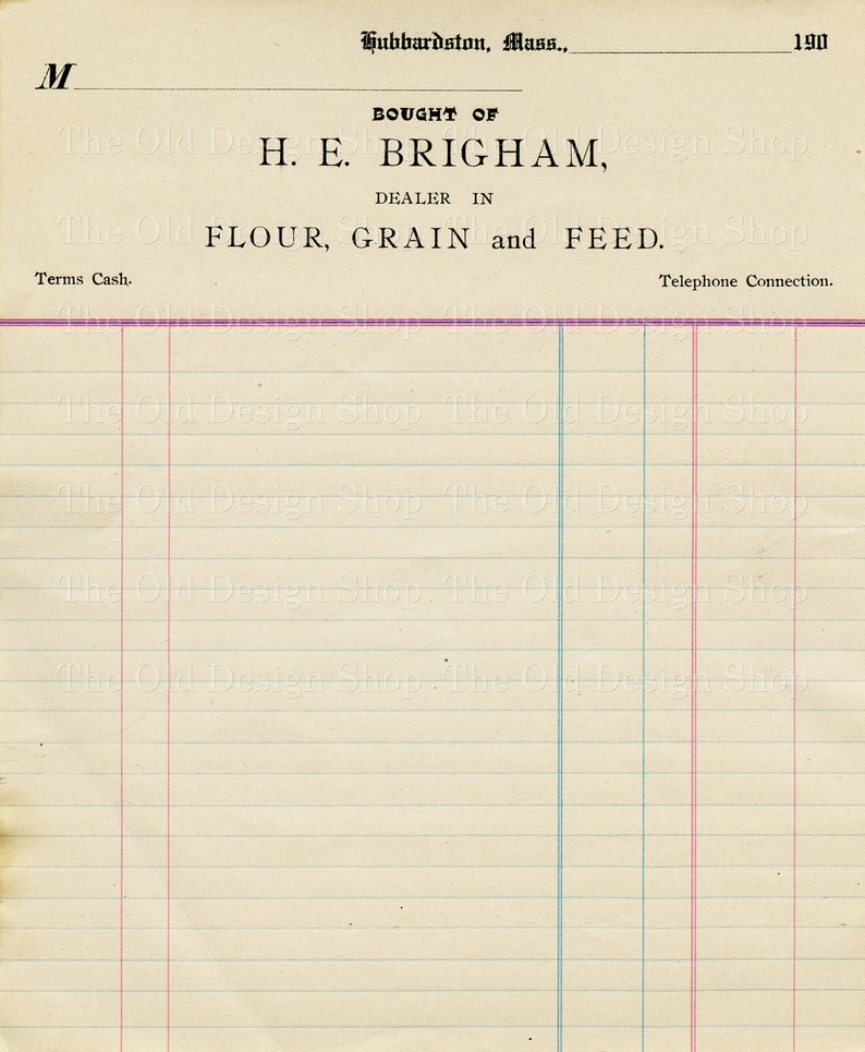 graphic about Printable Ledger Page named Classic Accounting Ledger Website page Printable Ephemera Brigham Flour Grain and Feed Monthly bill Electronic Down load JPG
