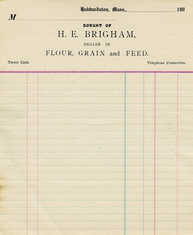 photo relating to Printable Ledger Page called Classic Accounting Ledger Web page Printable Ephemera Brigham Flour Grain and Feed Bill Electronic Down load JPG