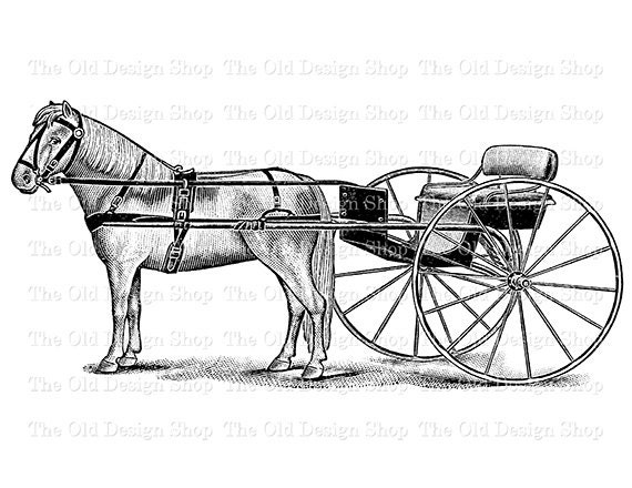 Horse And Buggy Vintage Clip Art Illustration Digital Stamp