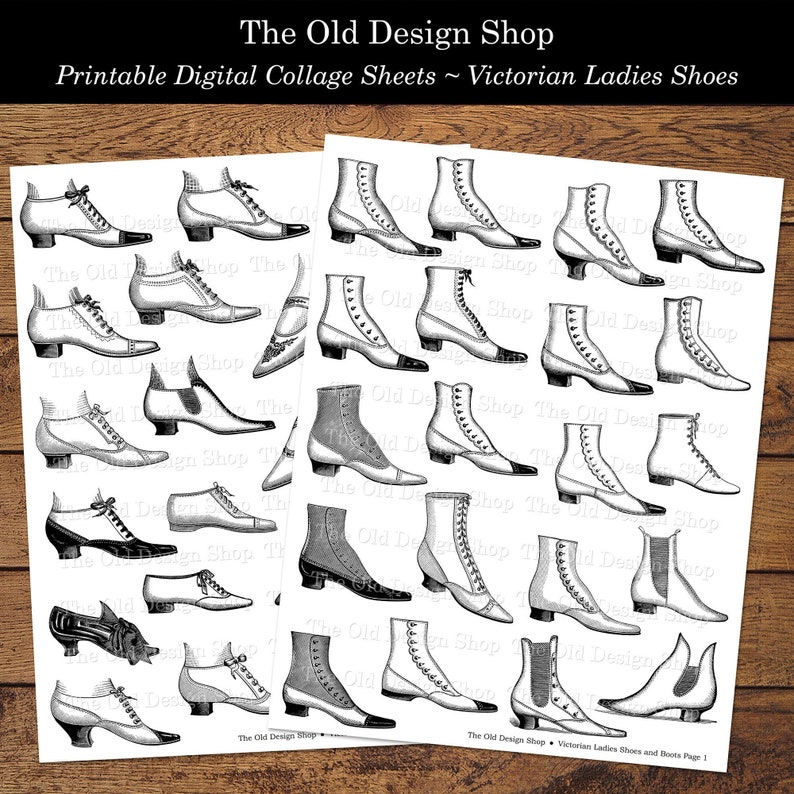 Vintage Victorian Ladies Shoes and Boots Fussy Cut Black and image 0