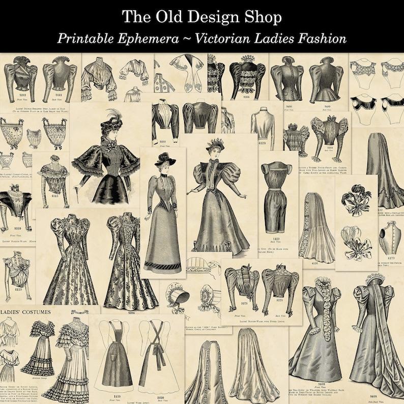 Victorian Ladies Fashion Printable Ephemera Commercial Use image 0