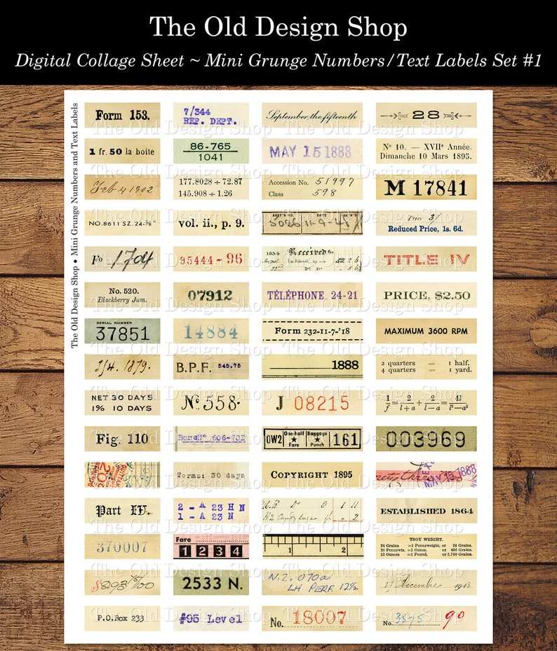 Set 1 Mini Grunge Numbers and Text Labels Printable Digital image 0
