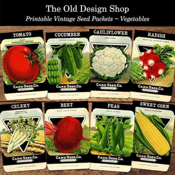 Vintage Vegetable Seed Packets Printable Jpg Digital Collage Etsy