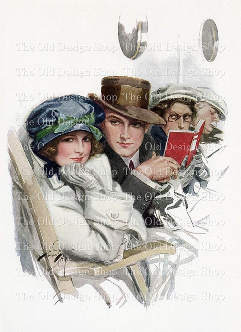 Harrison Fisher Lady and Man on Boat Deck Printable Vintage Art Digital Download JPG Image