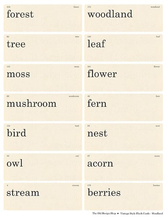 Vintage Style Flashcards Farm Words Printable Digital Collage Sheet JPG Format
