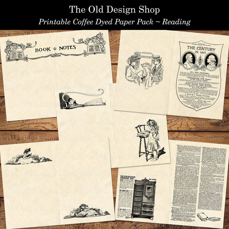 Printable Vintage Paper Pack Reading Themed Coffee Dyed PLUS image 0