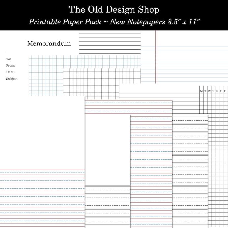 Printable Black White Red and Blue Lined Graph Memorandum Days image 0