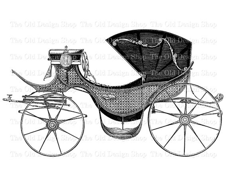Horse Drawn Carriage Vintage Car Clip Art Digital Stamp