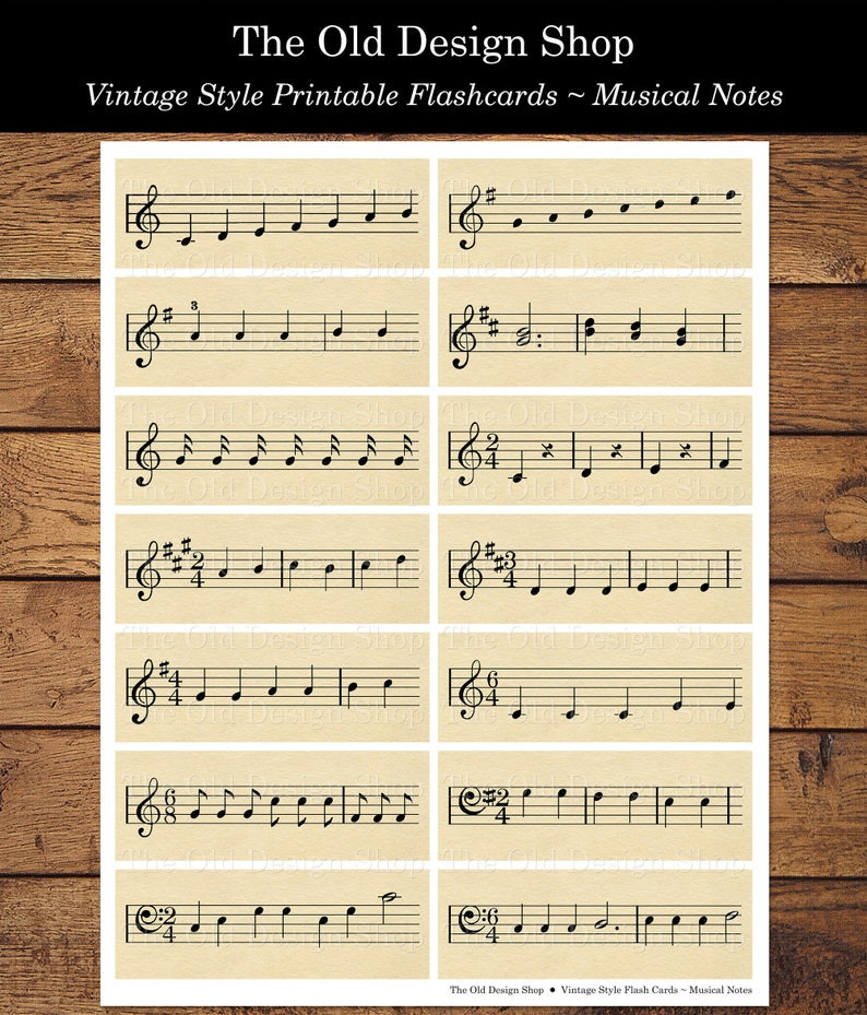 Musical Notes Flashcards Printable Vintage Style Music Flash image 0