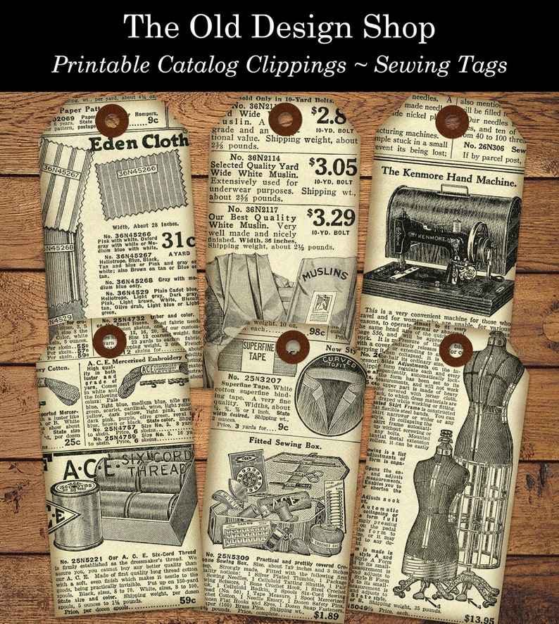 Catalog Clipping Printable Sewing Tags Vintage Style Digital image 0
