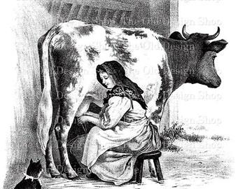 Milking Time Printable Vintage Cow Milkmaid Farm Animal Clip Art Digital Stamp Transfer Image