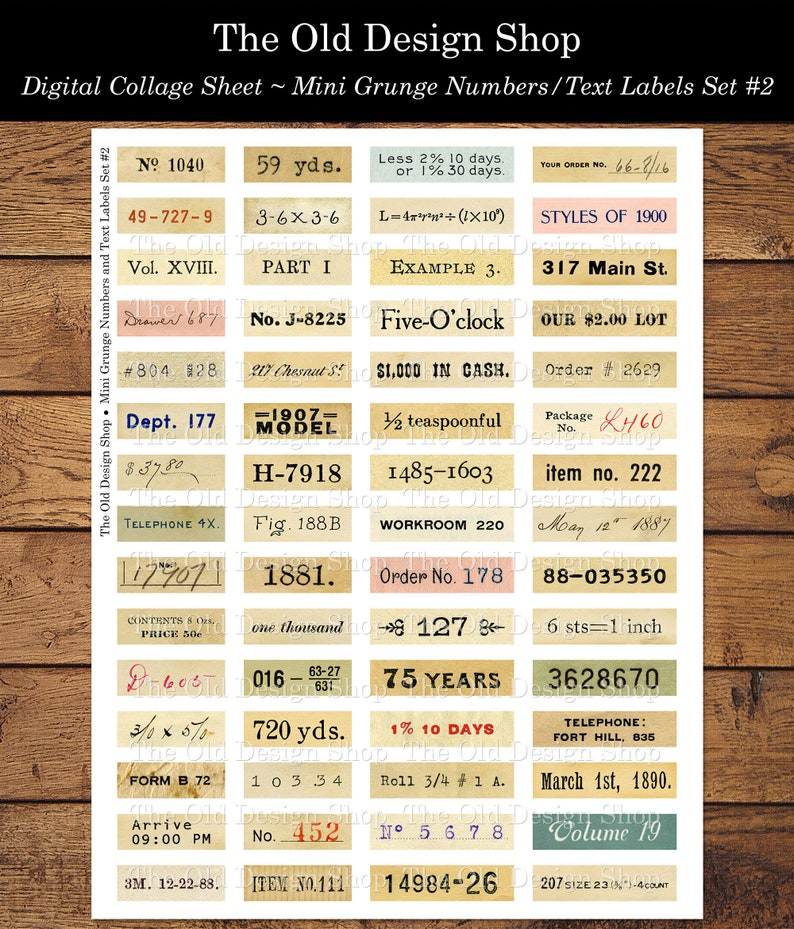 Set 2 Mini Grunge Numbers and Text Labels Printable Digital image 0