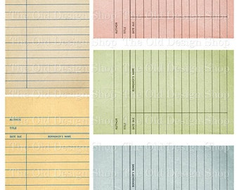 Pastel Colored Library Cards Vintage Style Printable Digital Collage Sheet