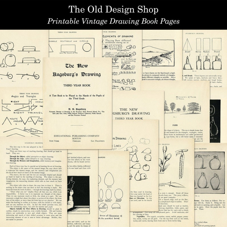 Vintage Drawing Book Pages Printable Aged and Shabby Pages for image 0