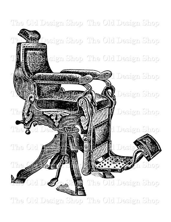 image 0 - Antique Barber Chair Vintage Clip Art Illustration Digital Etsy