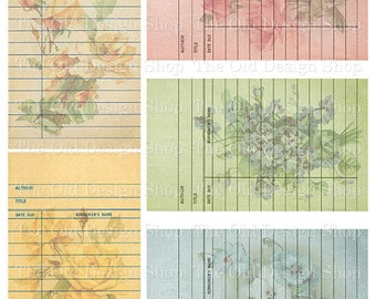 Floral Library Cards Vintage Style Printable Digital Collage Sheet