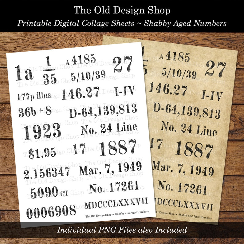 Shabby Aged Numbers Vintage Style Number Designs Printable image 0
