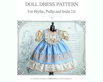 """DOLL DRESS E-PATTERN For Blythe, Pullip, Imda 2.6 By Odd Princess, """"Alice In Wonderland"""" Dress, Step By Step Instructions"""