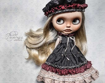 GOTHIC ROMANCE OOAK Blythe/Pullip Dress With Beret Set By Odd Princess, Exclusive 2021 Collection
