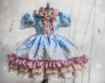 BLUEBERRY SORBET OOAK Blythe/Pullip Silk Dress By Odd Princess, 2021 Exclusive Couture