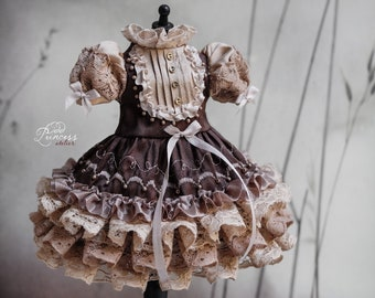 CHOCOLATE And CAFFE LATTE Blythe/Pullip/Imda 2.2-2.6 Ooak Silk Dress By Odd Princess, 2021 Exclusive Couture, Ready To Ship