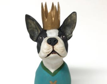 ceramic boston terrier bust - dog portrait bust - dog in crown - king/queen of hearts