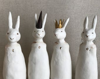 customizable rabbit sculptures - your name or message - made to order