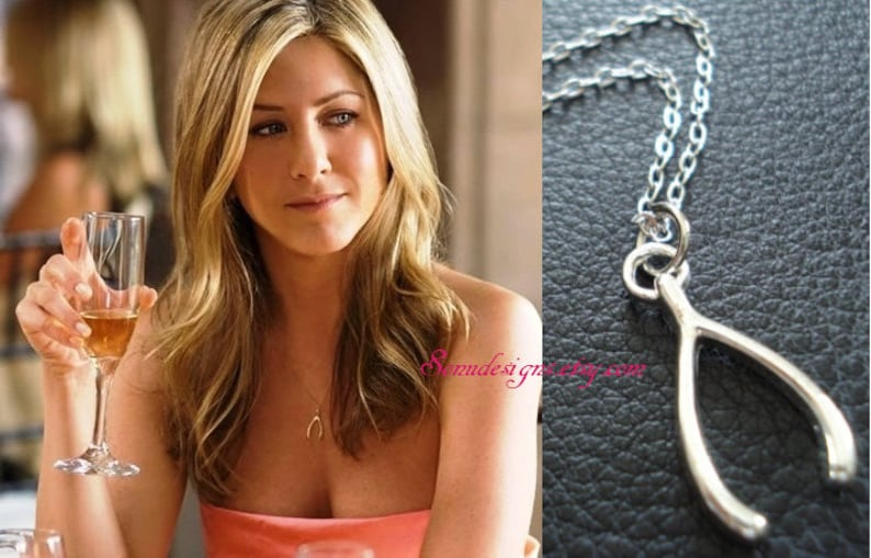Silver Wishbone Necklace-Celebrity Inspired gift for her bridesmaid gift