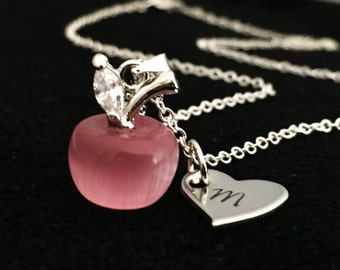 Personalized - Apple Necklace - Mother Necklace - Child initial - Every day Necklace + Teacher Necklace - Gift - Teacher initial - Birthday