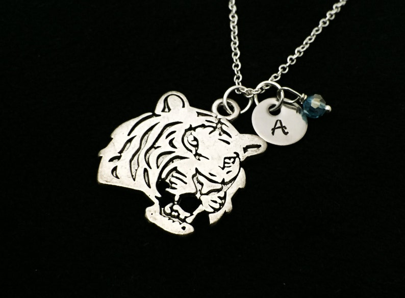 Tiger Lover Tiger necklace- Tiger Personalized tiger Tiger necklace Hand Stamped Personalized Tiger Necklace Initial Jewelry