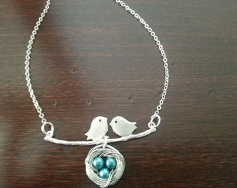 Silver Love Birds with Ocean  Blue  Pearl Nest