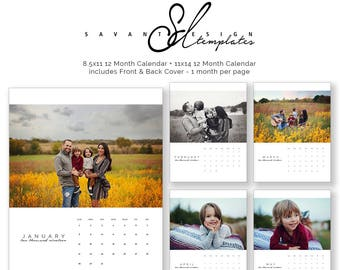2019 - 2020 Calendars, US 2 year Calendar, Photo, Wall, Photoshop Template, 8X11 and 11x14 Calendar, C150US, Instant Download