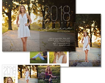 Graduation Announcement, Photography Template, Senior High School Graduation Invitation, Photoshop Template, Collage, Facebook Cover, GA404