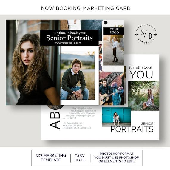 Now Booking Photoshop Template For Senior Graduation Portrait Etsy