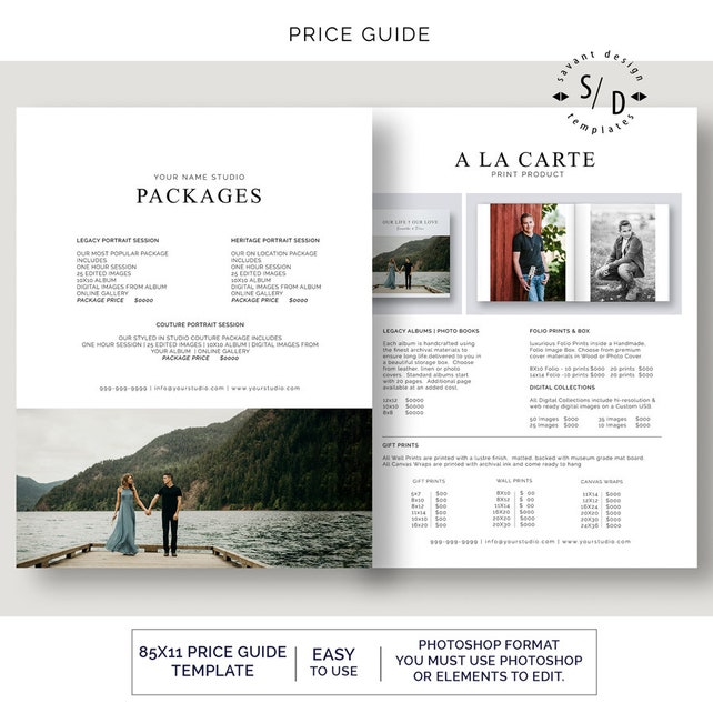 Photography Pricing List Pricing Guide Photographer Price List