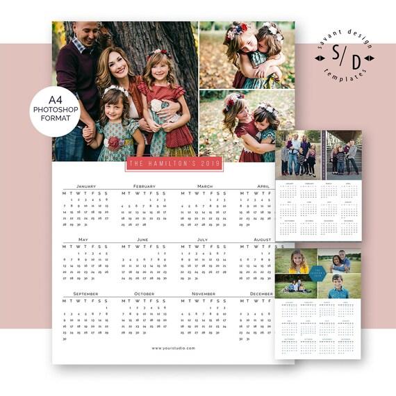 CALENDAR - 2019, 2020, A4 Calendar Template, Printable Photo Calendar Template for Photographers, Instant Download
