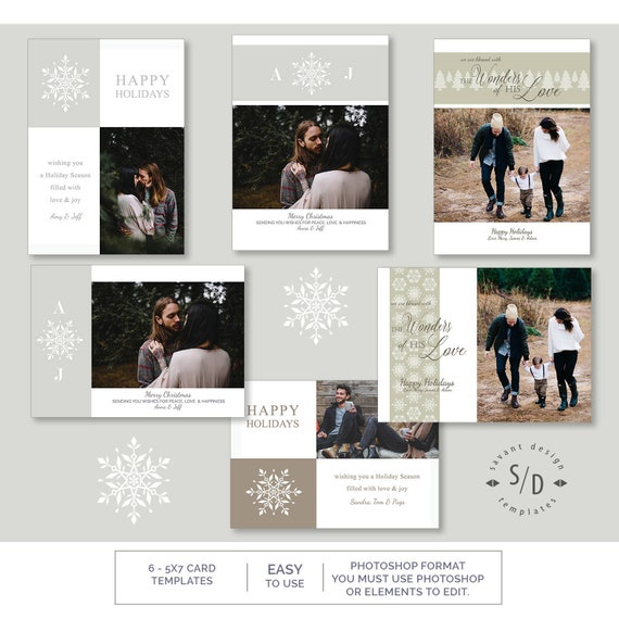 Christmas Card Templates Snowflakes And Love Set Of 6 Holiday