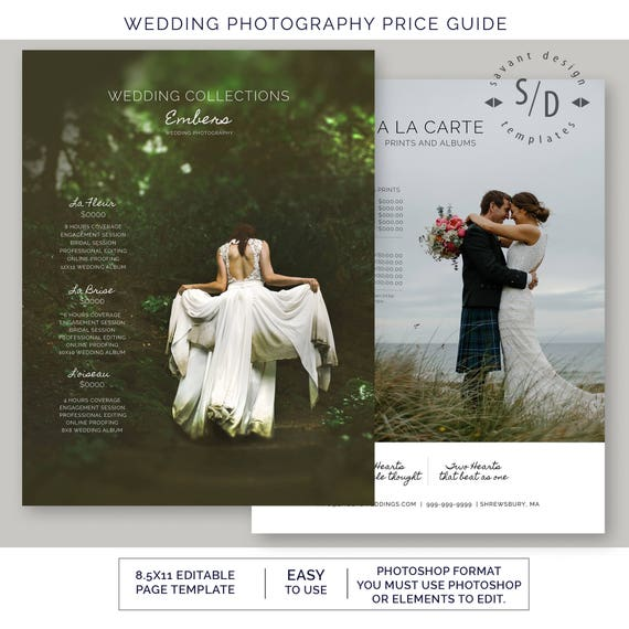 Price List Wedding Photography, Photoshop Template for Photographers, Photography, Pricing Guide Template, US, A4, Embers, Instant Download