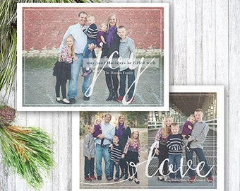 Christmas Card Template, Photoshop Template, Christmas Joy, Photo Card, INSTANT DOWNLOAD, 5x7 Christmas Card, Photographer template, CC103