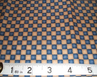 Blue and Beige Check 100% Cotton Fabric Fat Quarter