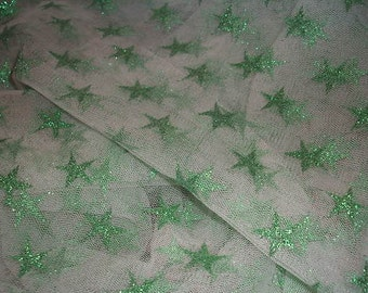 White Tulle with Green Stars Fabric