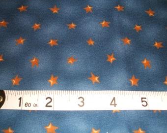 Gold Stars on Blue 100% Cotton Fabric Fat Quarter